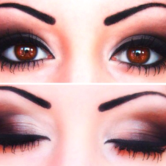 Love this dark smokey eye for brown eyes | hair | Pinterest