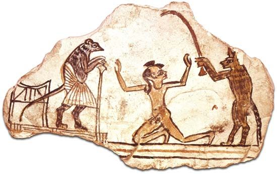 Ostracón de piedra con dubujo de un gato llevando a un chico ante un ratón magistrado. dinastía XIX Y está en El Instituto oriental de la Universidad de Chicago