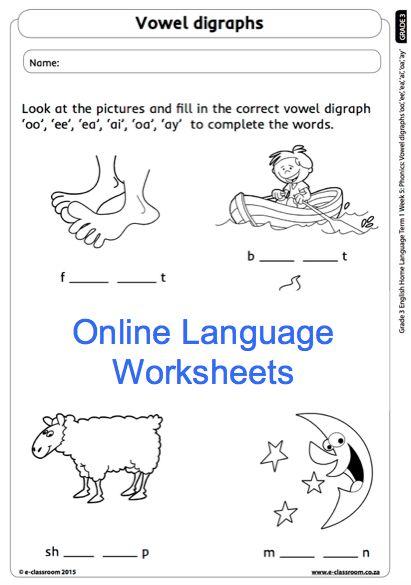 Grade 3 Online Language Worksheet Vowels. For more visit www.e-classroom.co.za!
