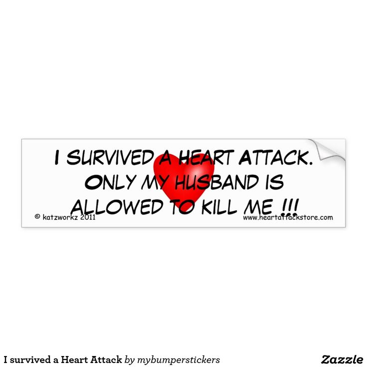 I survived a Heart Attack Car Bumper Sticker - Click on photo to view item then click on item to see how to purchase that item. #sticker #saying #quote #scar #tattoo #heartattack #diabetes #cvd #motivation #zazzle