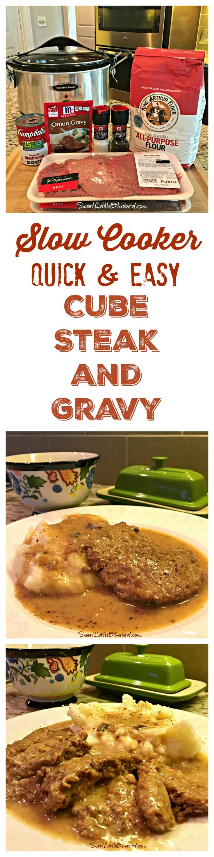 SLOW COOKER CUBE STEAK AND GRAVY (QUICK & EASY) -  Down home comfort food, perfect for a busy day! Easy to adapt to your taste, a meal the whole family will love!