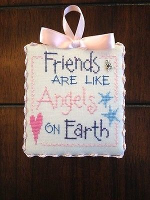 Finished Cross Stitch Ornament Friends Are Like Angels Lizzie Kate
