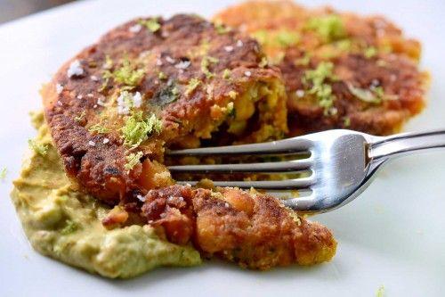 Chickpea Cakes with Chipotle Avocado Cream Recipe | Life's Ambrosia
