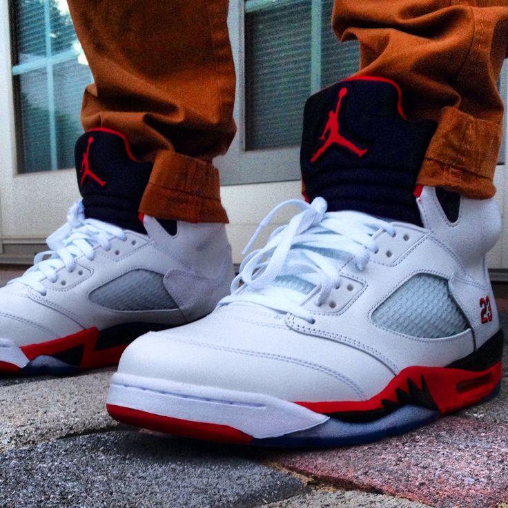 online store 020d5 4b736 air jordan retro 5 fire red on feet