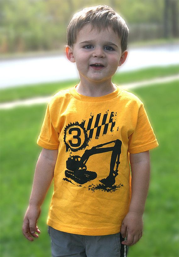 3rd construction birthday Happy boys Third Party digger Toddler Art Print on Gold Short Sleeve tshirt 1st, 2nd, 3rd, 4th, 5th