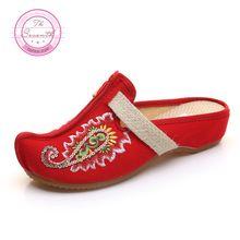 4 Kleuren Pailletten Kromtrekken Slippers Zomer Mode Exotische Geborduurde Etnische Casual Sandalen Schoenen Vrouw(China)