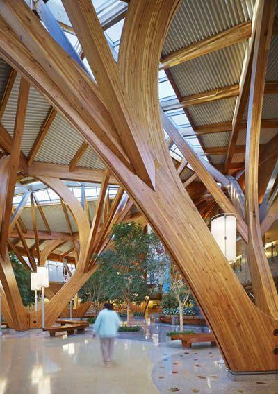 Interior of Peel Regional Cancer Centre (Credit Valley Hospital) designed by Farrow Partnership.