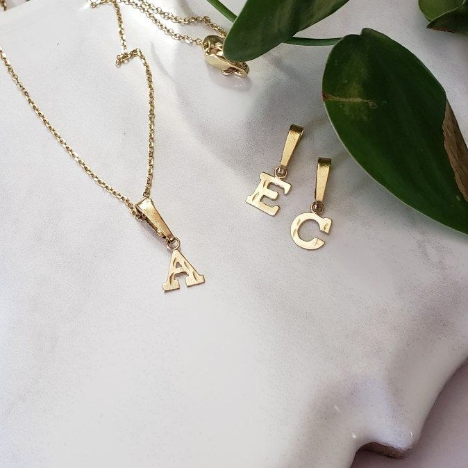 Mother S Day Gift 10kt Initial Pendant Dainty Letter Necklace Initial Jewelry Letter Jewelry Initial Jewelry Letter Necklace Chokers Gold Initial Pendant Initial Necklace Gold Initial Necklace