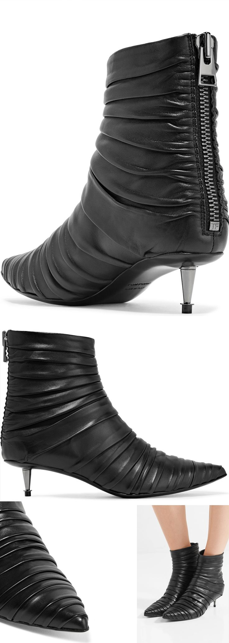 TOM FORD's ankle boots are made from black leather that's so soft and supple it's artfully ruched to create a pleated effect. Made in Italy, this pointed pair is set on a sculptural gunmetal kitten heel. Balance the wider cuffs with cropped jeans or midi hems. #fashion #winter #aw17 #winterfashion #tomford #winterboots #affiliatelink #fashionaddict #fashionista #christmas #presents
