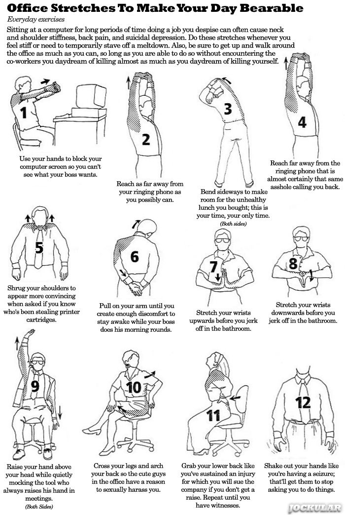 Office stretches that will make your horrible day more bearable.: Workout Stretch, Offices Stretch, Else Fun Food Funny Things, September Workout