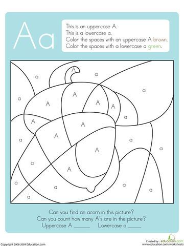 These alphabet coloring pages will help little ones master uppercase and lowercase letter identifications, increase vocabulary, coordinate colors, and improve counting skills. Kids will love seeing hidden objects suddenly appear with different crayons or markers.    Can you find the nut that squirrels love to eat?