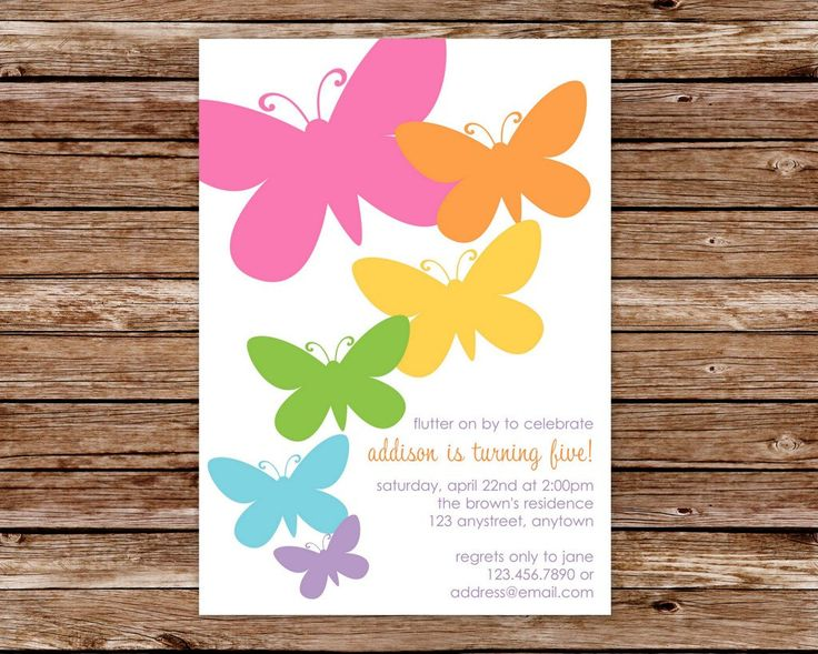 Custom Printable Butterfly Birthday Party Invitation. $10.00, via Etsy.