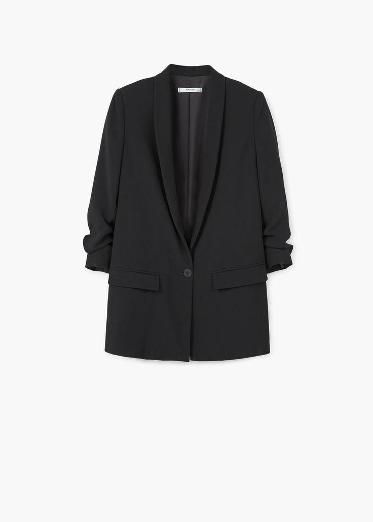 Ruched sleeves blazer   MANGO