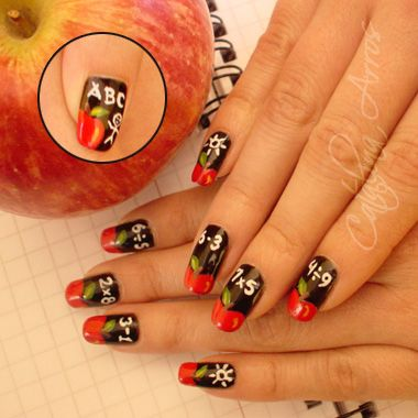 Back to School apple nails Catalina Arros | NAILPRO