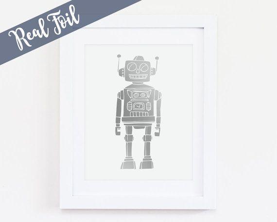 Robot Silver Foil Print Metallic Boy Nursery Robot