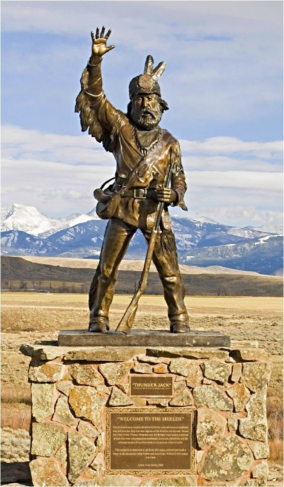 Thunder Jack near Willsall, Montana.  Fabulous drive with views of the Crazy Mountains. He's the unmistakable bronze trapper situated north of town on Highway 89, welcoming visitors and locals alike to the Shields River Valley.