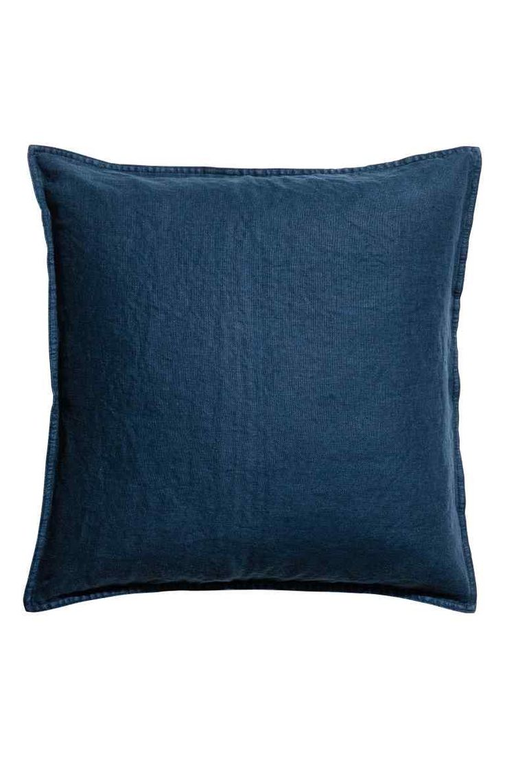 Washed linen cushion cover - Dark blue - Home All | H&M GB 1