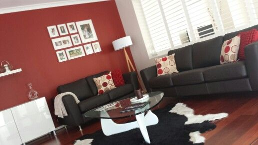 living room, red feature wall, cow hide | home | pinterest | red