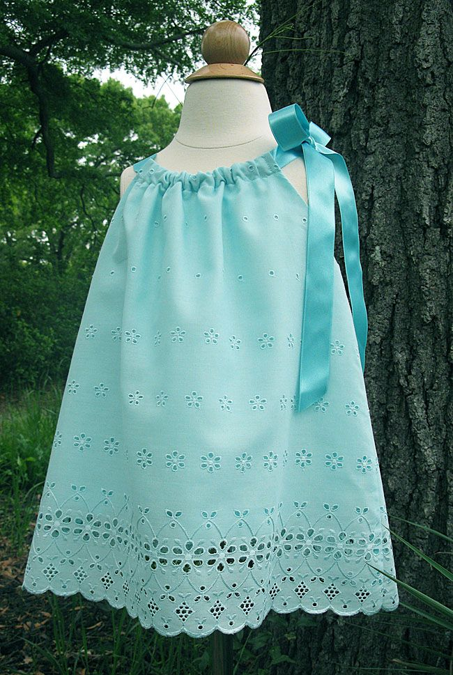 "Blakely's - ""Aqua Eyelet"" Pillowcase Dress, Shoulder Tie Topper - IJ827 Pattern by Indygo Junction (3-28-12)"