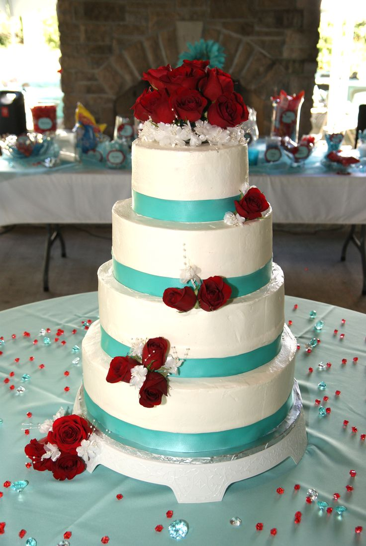 my red and aqua / turquoise wedding cake! | Gifts ...