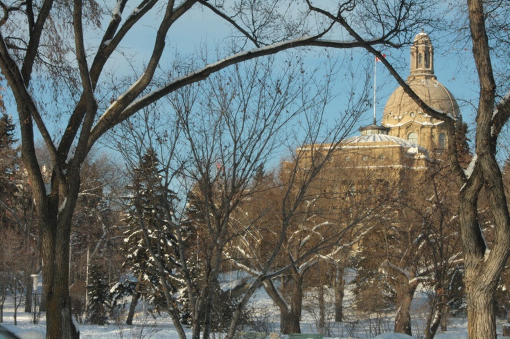 "The grounds of the Legislature (aka ""The Ledge"") in Edmonton Alberta, Canada.  (Photo by Anita, February 2009)"