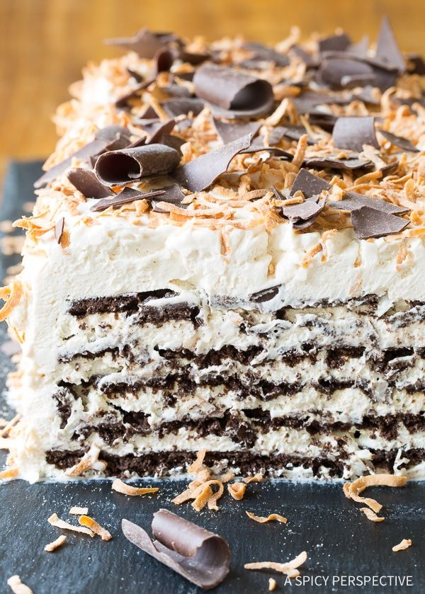 Kahlua Coconut Icebox Cake Recipe - A simple, yet elegant, boozy dessert that can be made in minutes. Best Ice Box Cake Ever!