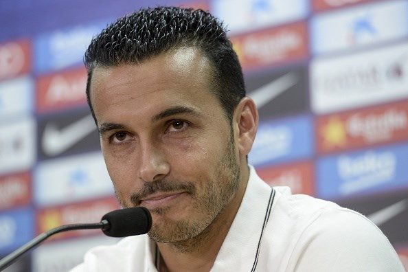 Barcelona's former forward Pedro Rodriguez sits during a farewell press conference for his departure from the club to English football team Chelsea at the Sports Center FC Barcelona Joan Gamper in Sant Joan Despi, near Barcelona on August 24, 2015. Chelse