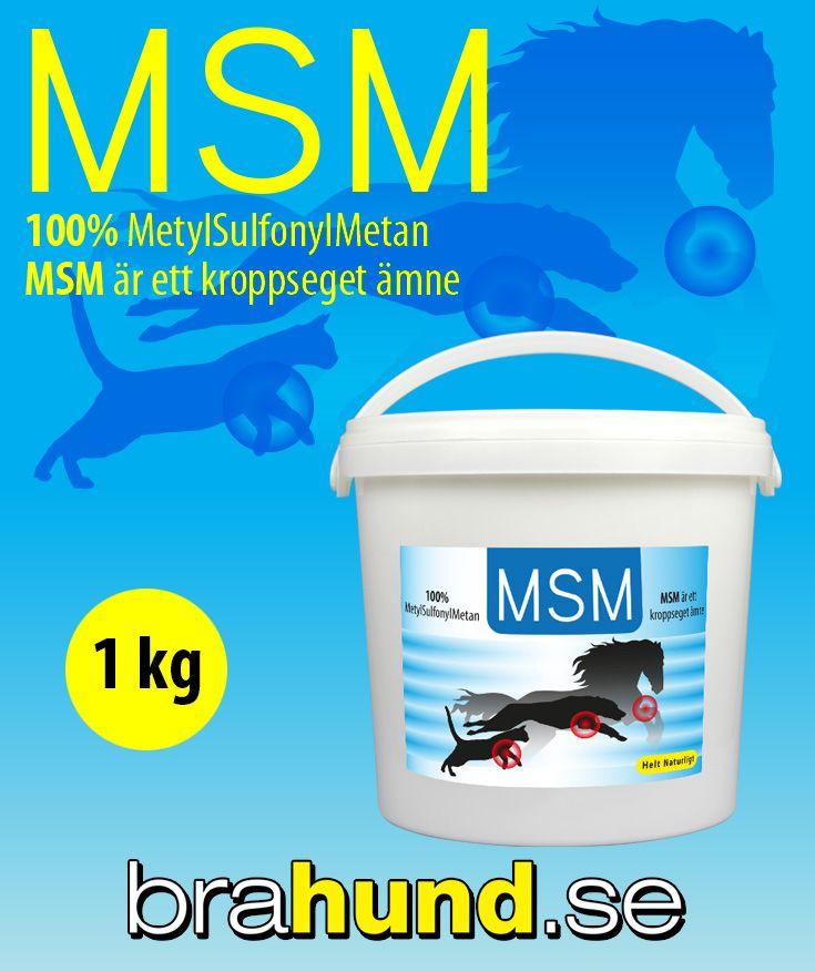 MSM är ett kroppseget ämne – organiskt svavel – som tas upp av varje cell i kroppen. MSM minskar förslitningar på leder och brosk samt är en viktig ingrediens för kroppens produktion av aminosyror, proteiner, enzymer, hormoner och immunoglobulin. MSM är u