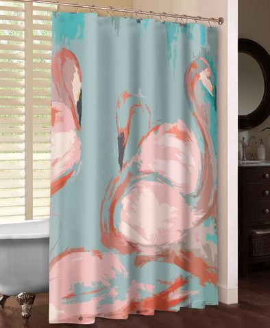 """Watercolor-style flamingos on a blue background. The soft lines and beautiful imagery in Laural Home's """"Flamingos Shower Curtain"""" are the perfect addition to any bathroom decor. All of our products ar"""