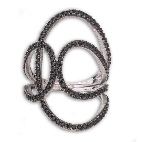 Silver Long Ring With Black Cubic Zirconia