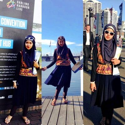 at Maritime Museum Wharf, #Australia #DarlingHarbour #Sydney  #smile #happy #love #relaxed #style #moslemfashion #Indonesian #batik #asia #hijab #outfit #skirt #skinny #glasses  #shiny  #beauty