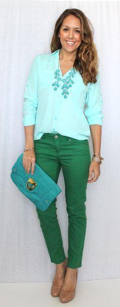Relativ Les 25 meilleures idées de la catégorie Pantalon couleur vert  VL34