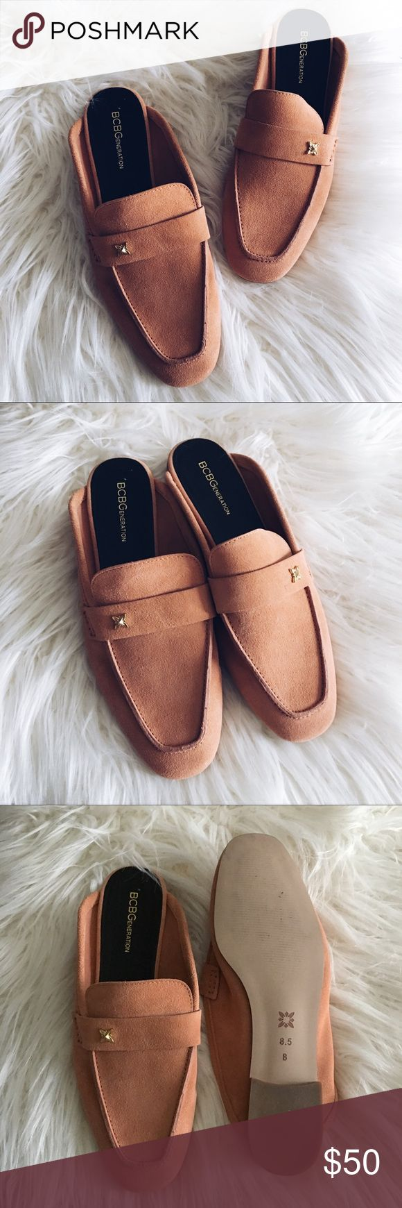 •BCBGeneration• Peach Mules Super cute and on trend! Leather vamp strap with crystal embellishment. Apron toe. Man-made lining and insole. Low stacked heel. Man-made sole. (PF4) BCBGeneration Shoes Mules & Clogs