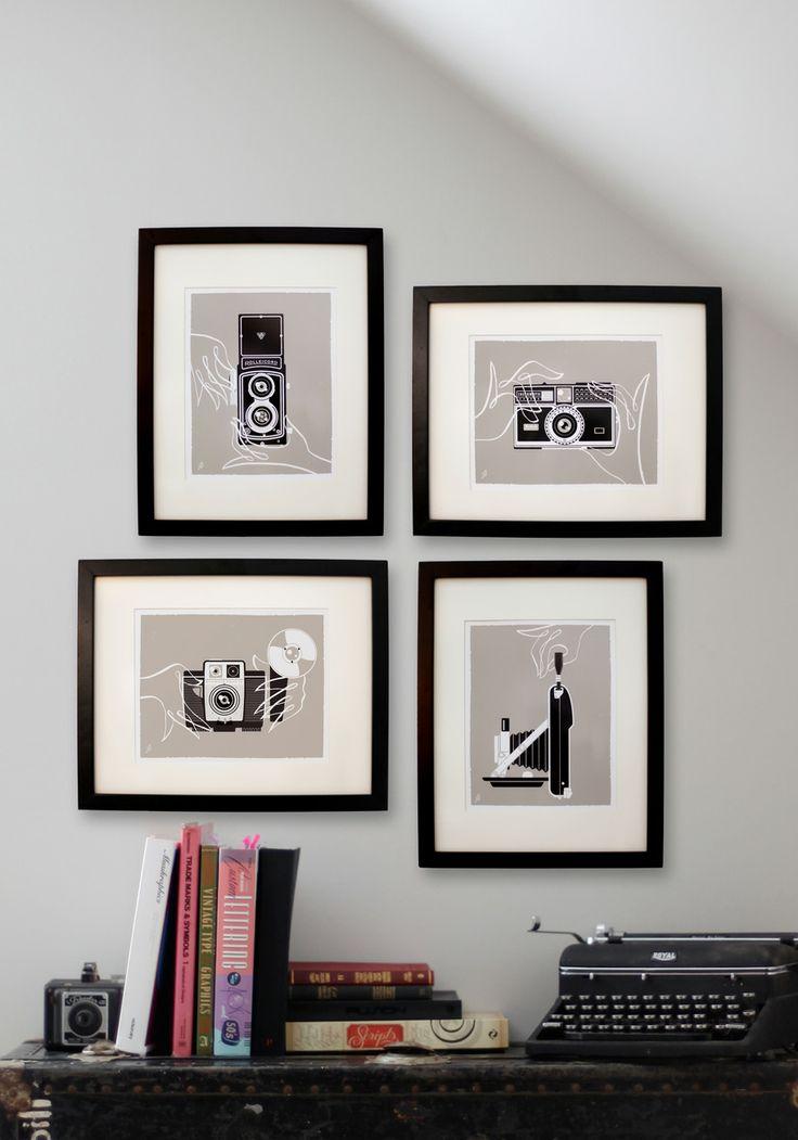 Shutter to Think Print Set - Grey, Dorm Decor, Mid-Century, Black, White