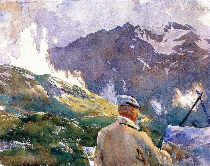 """Artist in the Simplon,"" watercolor, by the American painter John Singer Sargent. Courtesy of the Fogg Museum of Art."
