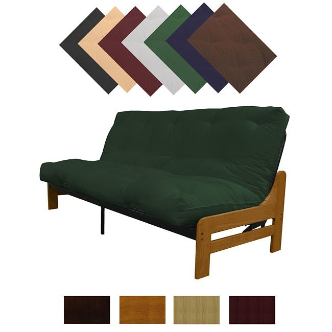epic boston medium oak finish full armless frame futon set sleeper bed natural frame finish with natural offwhite full futon mattress white