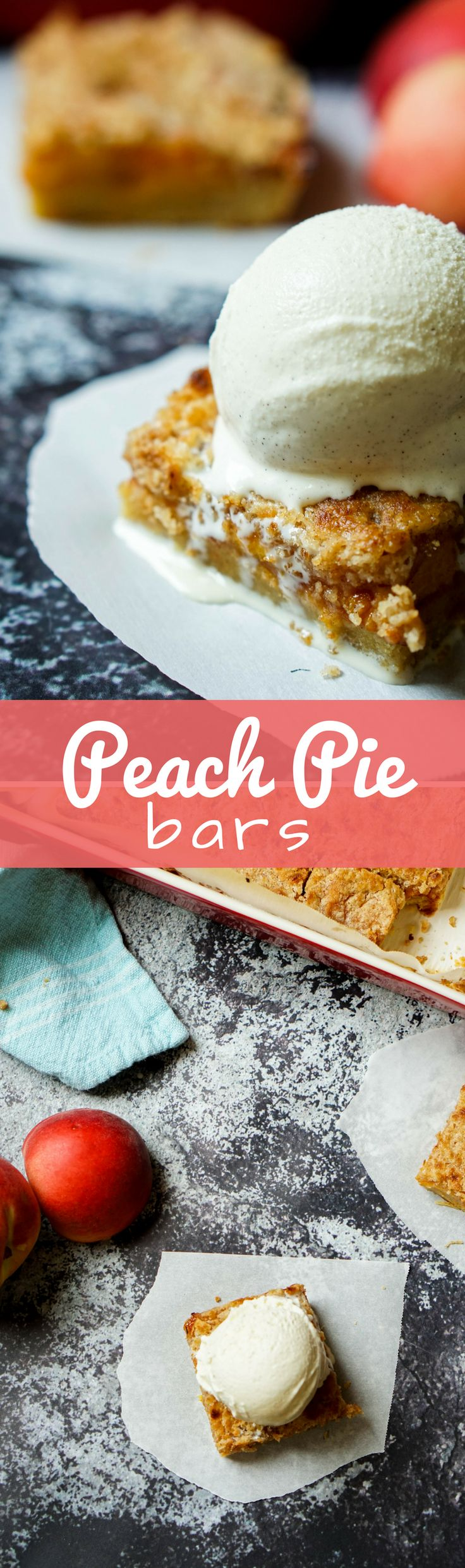 These peach pie bars are the perfect Summer treat whether you're running around outside or on the go! Layered with a thick crust, juicy peaches, and crispy streusel it's the best dessert for Summer!