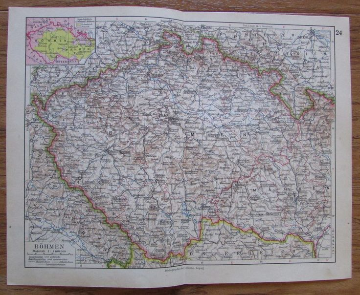 Böhmen Tschechien - alte Landkarte Karte old map 1928