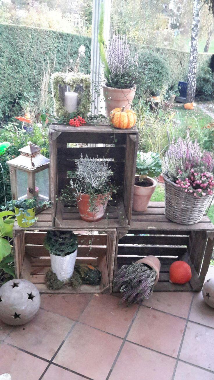 Herbst Deko mit Holzkisten