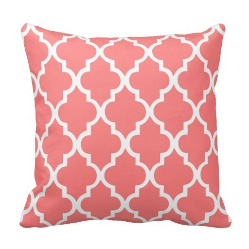Coral Quatrefoil Tiles Pattern Throw Pillow