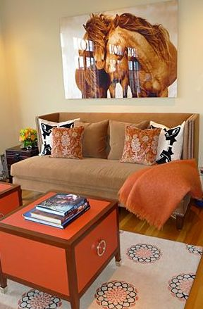 I Love Everything About This Brown U0026 Orange Living Room! Check Out That  Horse Painting Part 63