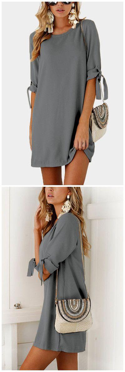 Grey Self-tie at Sleeves Mini Dress