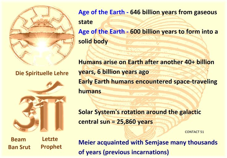 Age of the Earth - 646 billion years from gaseous state Age of the Earth - 600 billion years to form into a solid body Humans arise on Earth after another 40+ billion years, 6 billion years ago Early Earth humans encountered space-traveling humans Solar System's rotation around the galactic central sun = 25,860 years  Meier acquainted with Semjase many thousands of years (previous incarnations)  CONTACT 51 [Tuesday, April 27, 1976, 5:26 p.m.] Contact person: Semjase  Ban-Srut Beam  - Last…