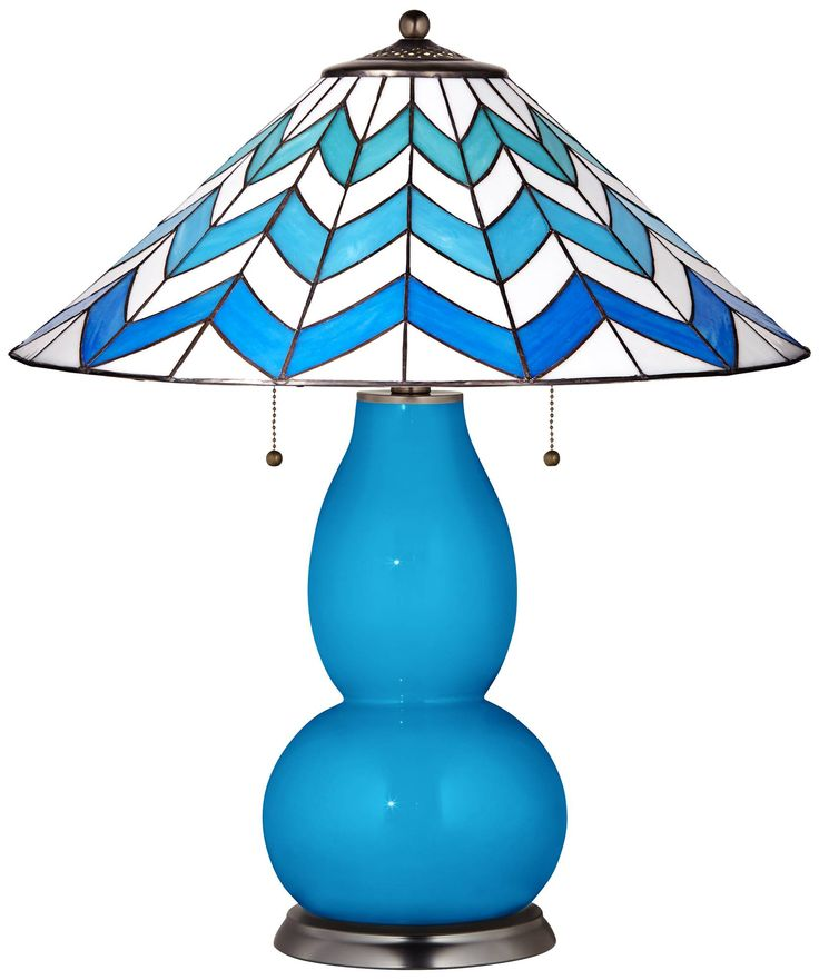 Fulton Table Lamp in River Blue with Cascade Shade - #6C100-X8988-6C115 | Lamps Plus
