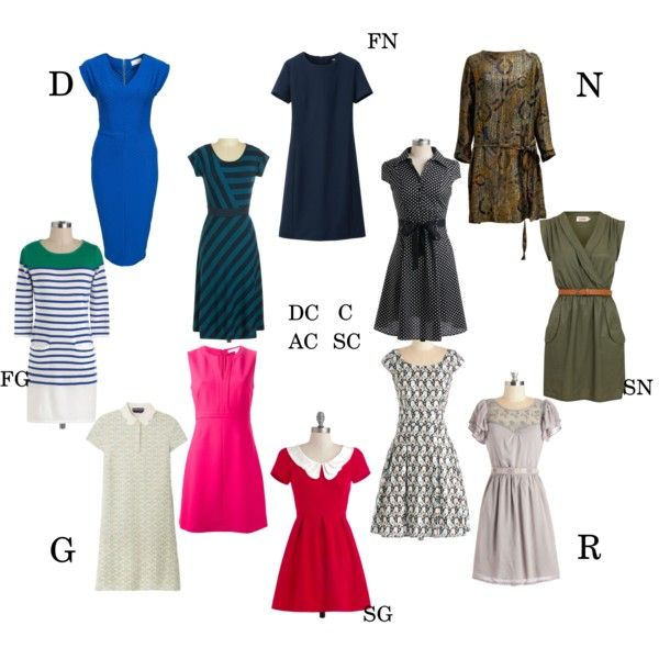 Essential day dress for each kibbe type by moara on Polyvore featuring moda, Rochas, Uniqlo, Louche, Diane Von Furstenberg and Closet