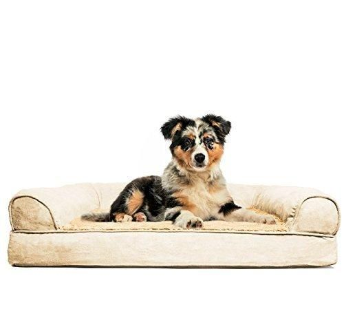 FurHaven Medium Plush & Suede Orthopedic Sofa Pet Bed for Dogs and Cats Clay