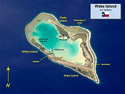 Wake Island-- (also known as Wake Atoll) is a coral atoll located in the western Pacific Ocean in the northeastern area of the Micronesia subregion, 2,416 kilometres (1,501 miles) east of Guam, 3,698 kilometres (2,298 miles) W of Honolulu & 3,205 kilometres (1,991 miles) SE of Tokyo. The island is an unorganized, unincorporated territory of the US that is also claimed by the Marshall Islands. Wake Island is one of the most isolated islands in the world & the nearest inhabi