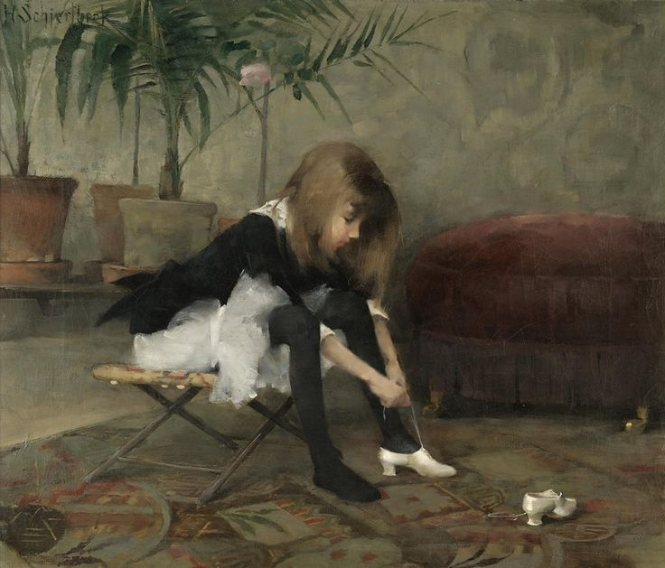 Helene Schjerfbeck (Finnish painter) 1862 - 1946 Tanssiaiskengät; Balskorna (Dancing Shoes), 1882 oil on canvas 55 x 64.5 cm