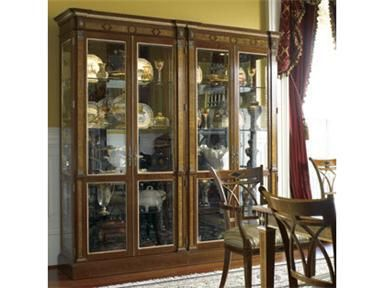 Shop for Stickley Russian Single Cabinet, JW-5588-1, and other Living Room Cabinets at Feige's Interiors in Saginaw, MI. Antique mirror on inside back. Distinctively Russian neoclassic china cabinet distinguished by its dentil and egg three adjustable 3/8 inches plate grooved glass shelves; 1/4 inches glass inserts in fixed shelf; beveled glass doors and ends; adjustable glides.