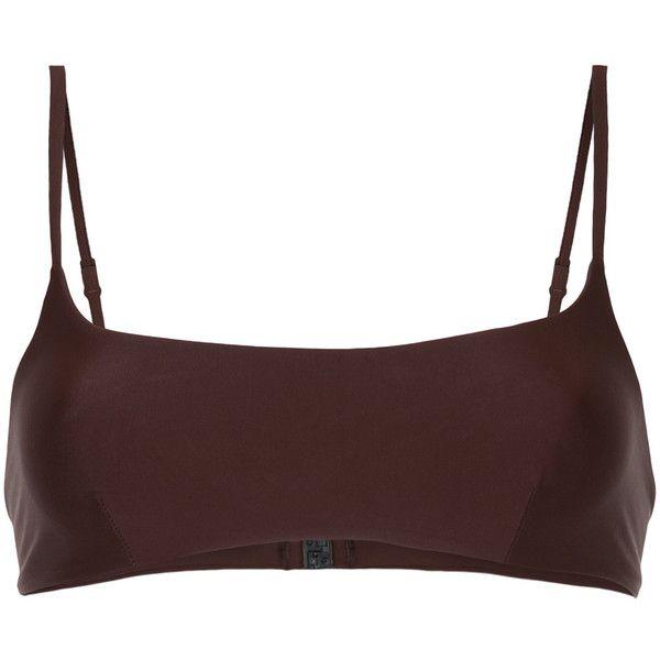 Matteau bikini crop top (46.510 CRC) ❤ liked on Polyvore featuring swimwear, bikinis, bikini tops, brown, seamless swimwear, crop bikini, seamless bikini swimwear and bikini swimwear